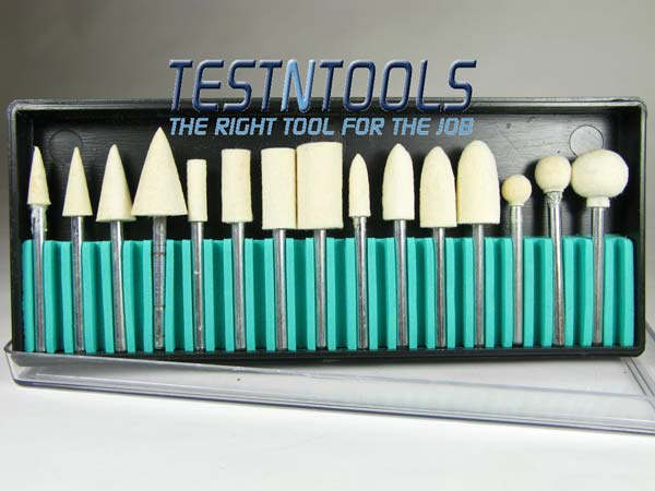 Home :: Accessories :: Rotary tool :: Cleaning and polishing :: Desic Mounted Felt Polishing Set Hard Type 15 Pieces