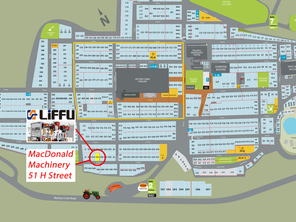 Fieldays 2016 Site Map H51 Liffu Hoists