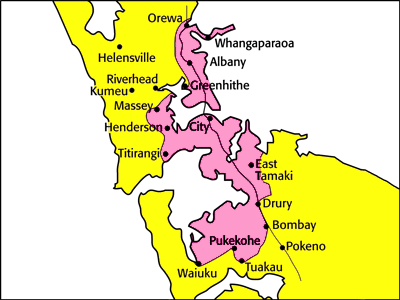 Testntools Shipping Zones - Auckland Map
