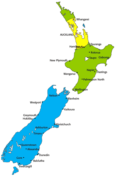 Testntools Shipping Zones - New Zealand Map