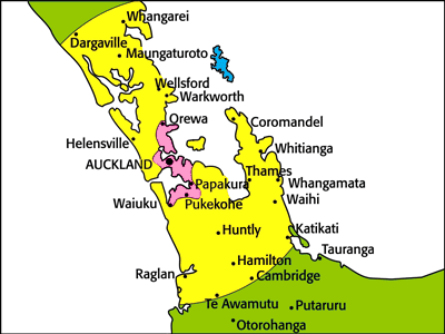 Testntools Shipping Zones - North Island Map