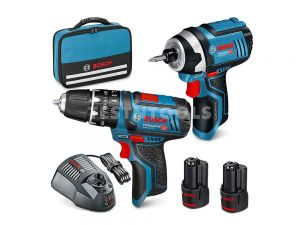 Bosch 12V 2pc 2.0Ah Brushed Hammer Drill/Impact Driver Combo Kit SCBR 0615990L1H