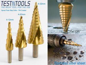 Desic Step Drill Set 3 Pieces Spiral Flute 4-32mm