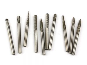 Desic Tungsten Carbide Burrs 10 Piece Assorted Single Cut 3mm