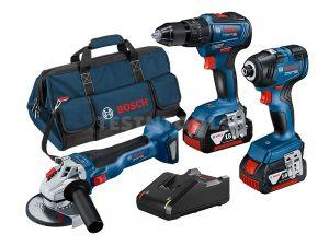 Bosch 18V 3pc 5.0Ah Brushless Combo Kit GSB+GWS+GDR 0615990M18