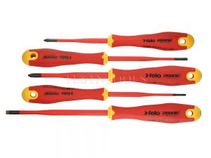 Felo 413 Series Ergonic E-slim Screwdriver Set Insulated Hardened Tip 5 Pack SCR-S413S5ES