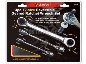 AmPro Double Geared Wrench Set 9mm - 19mm 3 Piece WREG-T42516