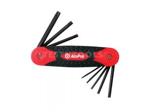 AmPro Folding Star Hex Key Set T8 - T40 8 Piece WREH-T22990
