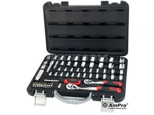 "AmPro Socket Set 1/4"" & 3/8"" Dr 5/32""-13/16"" & 4mm-19mm 6PT 68Pc SOCS-T46186"