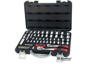 "AmPro Socket Set 1/4"" & 3/8"" Dr 5/32""-13/16"" & 4mm-19mm 6PT 68Pc SOCS-T46186"