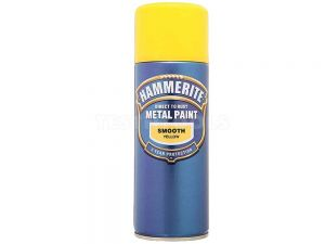 Hammerite Direct To Rust Metal Paint Aerosol Smooth Yellow 400ml PAIS-040Y