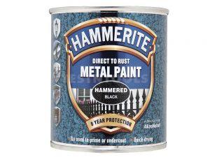 Hammerite Direct To Rust Metal Paint Hammered Finish Black 250ml PAIH-025B