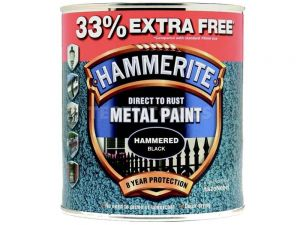 Hammerite Direct To Rust Metal Paint Hammered Finish Black 750ml 33% Extra Free PAIH-075BPROMO