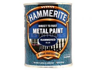 Hammerite Direct To Rust Metal Paint Hammered Finish Blue 750ml PAIH-075BLU