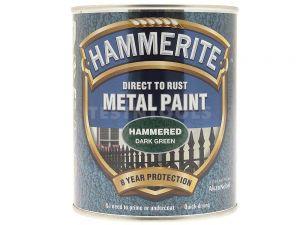 Hammerite Direct To Rust Metal Paint Hammered Finish Dark Green 250ml PAIH-025DG