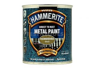 Hammerite Direct To Rust Metal Paint Hammered Finish Gold 250ml PAIH-025G