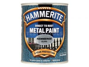Hammerite Direct To Rust Metal Paint Hammered Finish Silver 250ml PAIH-025S