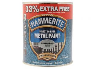 Hammerite Direct To Rust Metal Paint Hammered Finish Silver 750ml 33% Extra Free PAIH-075SPROMO