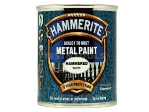 Hammerite Direct To Rust Metal Paint Hammered Finish White 250ml PAIH-025W