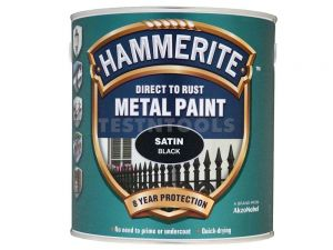 Hammerite Direct To Rust Metal Paint Satin Black 250ml PAIS-025BL