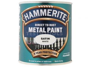 Hammerite Direct To Rust Metal Paint Satin White 250ml PAIS-025WH