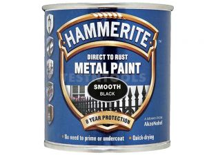 Hammerite Direct To Rust Metal Paint Smooth Black 250ml PAIS-025B