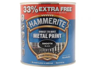 Hammerite Direct To Rust Metal Paint Smooth Black 750ml 33% Extra Free PAIS-075BPROMO