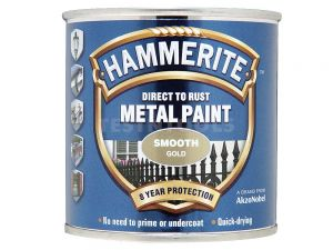 Hammerite Direct To Rust Metal Paint Smooth Gold 250ml PAIS-025G