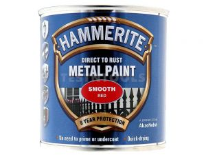 Hammerite Direct To Rust Metal Paint Smooth Red 250ml PAIS-025R
