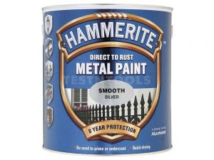 Hammerite Direct To Rust Metal Paint Smooth Silver 2.5litre PAIS-2.5S