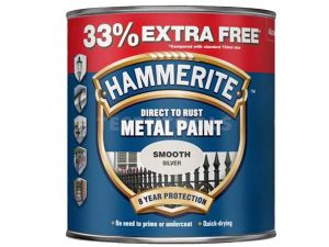 Hammerite Direct To Rust Metal Paint Smooth Silver 750ml 33% Extra Free PAIS-075SPROMO
