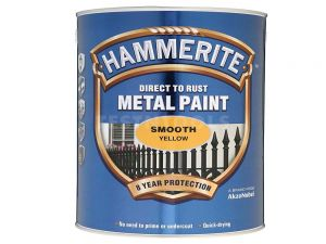 Hammerite Direct To Rust Metal Paint Smooth Yellow 250ml PAIS-025Y