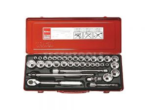 "Koken Socket Set 1/2"" Drive 3/8 - 1.1/4"" & 10 - 32mm 6PT 36 Piece 4279AM-6P"
