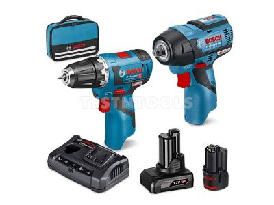 Bosch 12V 2pc 2.0Ah/4.0Ah Brushless Drill/Impact Wrench Combo Kit SCRS 0615990L34