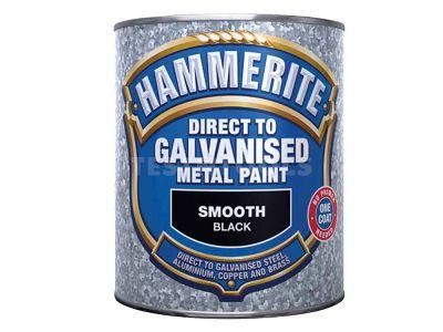 Hammerite Direct To Galvanised Metal Paint Smooth Black 750ml PAID-075B