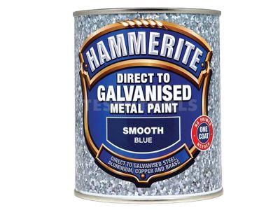 Hammerite Direct To Galvanised Metal Paint Smooth Blue 750ml PAID-075BLU