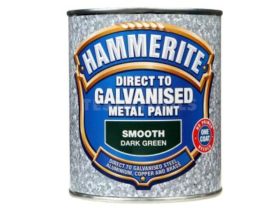 Hammerite Direct To Galvanised Metal Paint Smooth Dark Green 750ml PAID-075DG