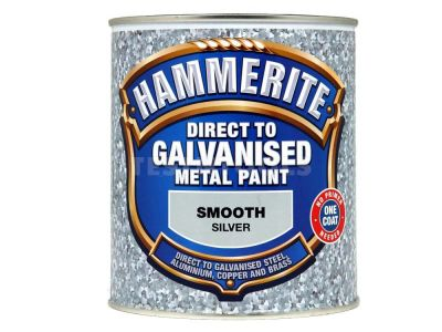 Hammerite Direct To Galvanised Metal Paint Smooth Silver 750ml PAID-075S