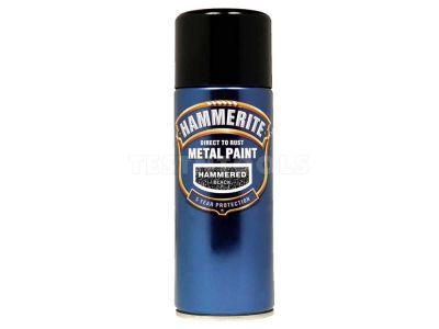 Hammerite Direct To Rust Metal Paint Aerosol Hammered Finish Black 400ml PAIH-040B