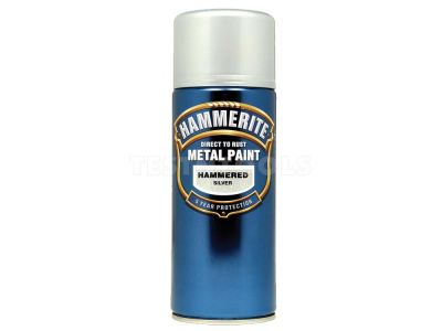 Hammerite Direct To Rust Metal Paint Aerosol Hammered Finish Silver 400ml PAIH-040S