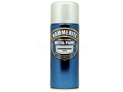 Hammerite Direct To Rust Metal Paint Aerosol Hammered Finish White 400ml PAIH-040W
