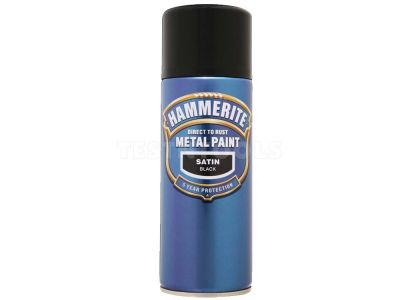 Hammerite Direct To Rust Metal Paint Aerosol Satin Black 400ml PAIS-040BL