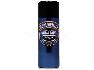 Hammerite Direct To Rust Metal Paint Aerosol Smooth Black 400ml PAIS-040B