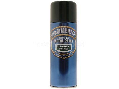 Hammerite Direct To Rust Metal Paint Aerosol Smooth Dark Green 400ml PAIS-040DG